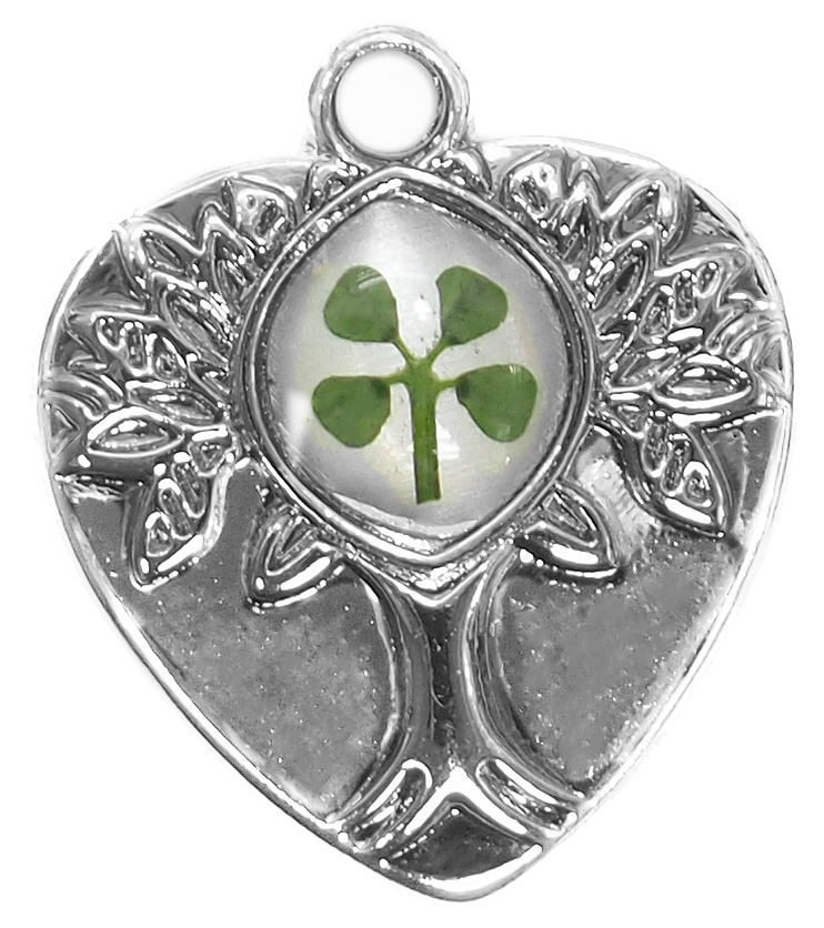 White Gold Plated Tree Of Life Clover